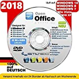Open Office Paket 2018 CD/DVD TEXTVERARBEITUNG / SCHREIBPROGRAMM kompatibel zu Word & Excel® -Für Windows 10 ® Windows 7®, 8® ,XP® & Vista®