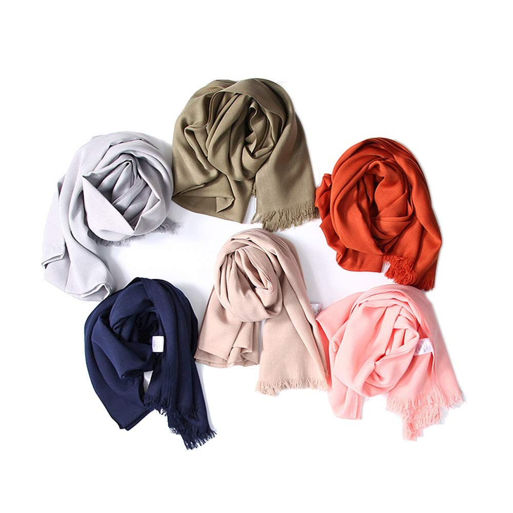 Women's Scarves Soft Autumn and Winter Knit Warm Shawl Wool Tassels Versatile Collar Scarf Cold Weather Scarves (color   Pink, Size   One Size)