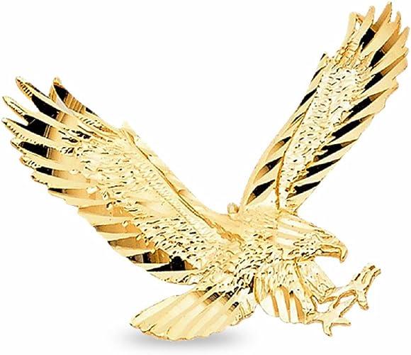14k Yellow Gold Eagle Pendant Diamond Cut Charm Polished Finish Fashion Style