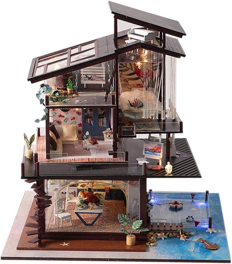 DIY Wooden LED Light Coastal Villa Doll House Miniatures Furniture Kids Gift ♡