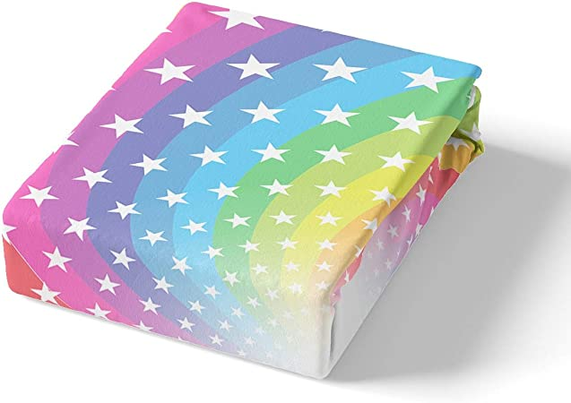 Feelyou Rainbow Bed Sheet Set for Kids Child Girls Rainbow Colors Swirl Fitted Sheet Iridescent Geometric Stripe Bedding Set Pentagram Pattern Colorful Pillowslip Decor 2 Pcs Twin Size