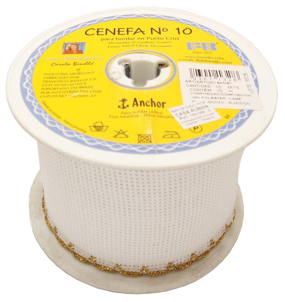 Rollo de cinta tela cenefa para bordado a mano de punto cruz. 10 Counts. Bordes de color Dorado: Amazon.es: Hogar