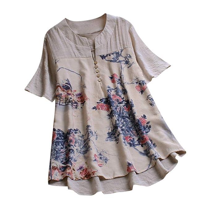 Mujer Camiseta 2019 MISSWongg Algodón y Lino Cuello V Media ...