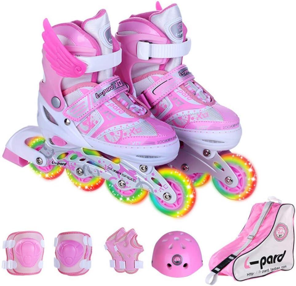 Magnitt Adjustable Roller Skates for Girls and Boys 2-in-1 Roller Skates Full Set Outdoor Inline Skates Rollerskates for Beginners with All Wheels Light up