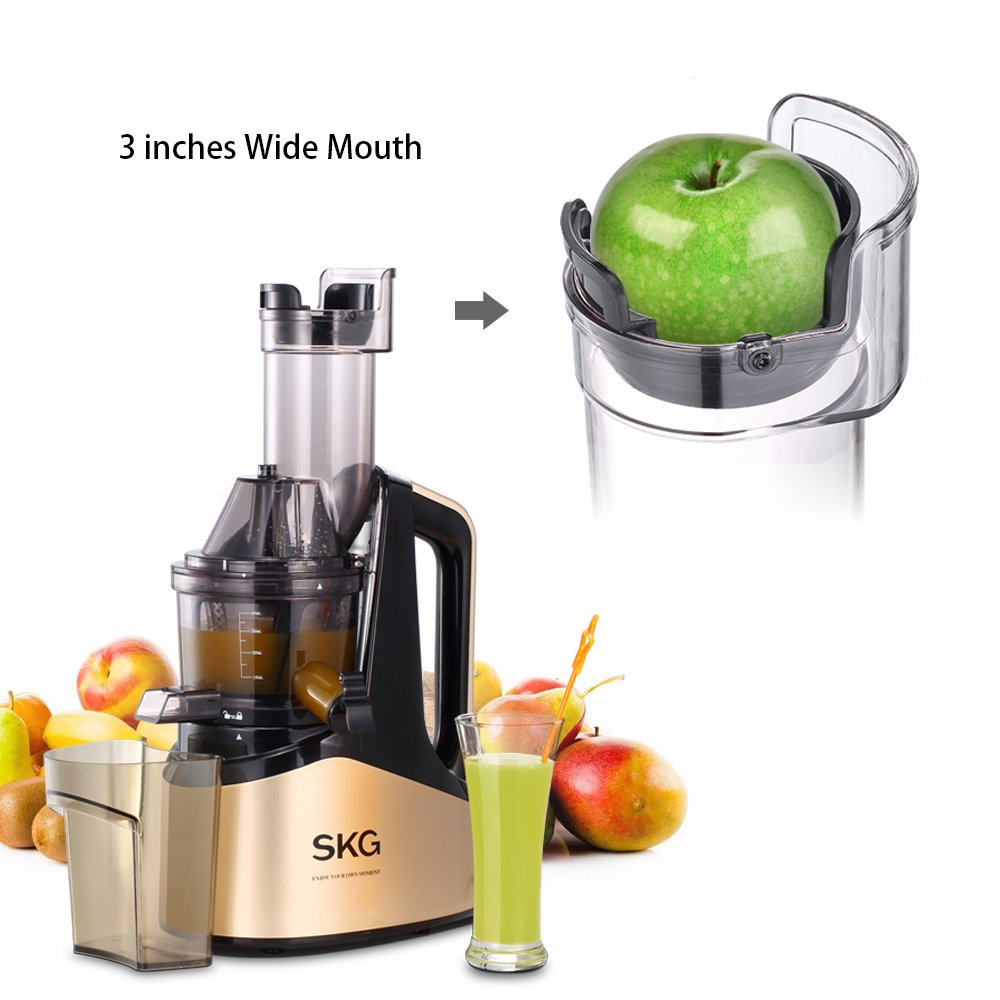 SKG Slow Masticating Juicer Extractor with Wide Chute (240W AC Motor, 43 RPMs, 3'' Big Mouth) Anti-Oxidation Lower Noisy - Vertical Masticating Cold Press Juicer-Champagne by SKG (Image #2)