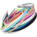 Carykon 20 PCS Girls Women DIY Satin Fabric Covered Ribbon Headbands, Mixed Color