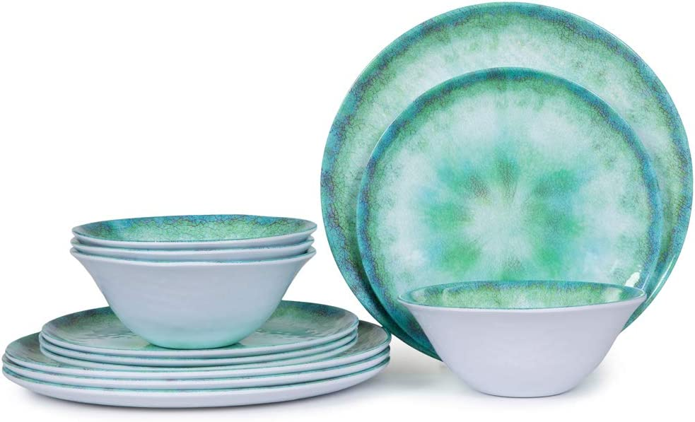 Melamine Dinnerware Set for 4-12pcs Indoor and Outdoor Dishes, Plates and Bowls Set, Dishwasher Safe, Lightweight, Turquoise