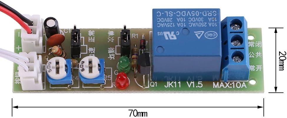 en option DC12V,0-60min Module de minuterie Minuterie de cycle r/églable Retard On//Off Switch Module de relais DC 5V//12V//24V 0-15min//0-60min