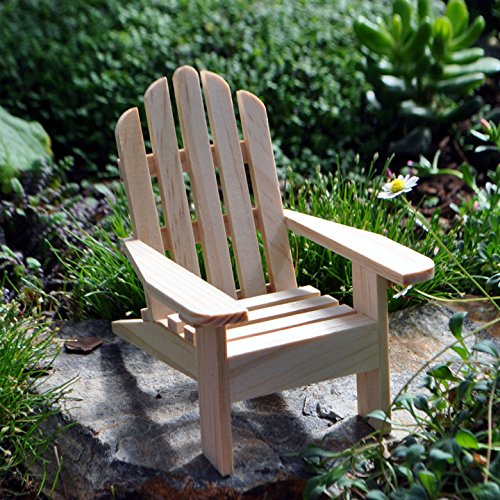 1 X Miniature Fairy Garden Adirondack Chair, Natural
