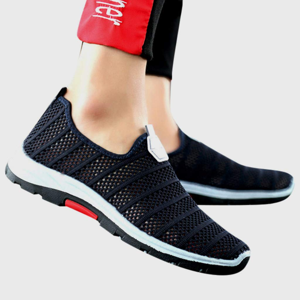 iYBUIA Mens Hollow Woven Mesh Breathable Sneakers Lightweight Soft Non-Slip Wear Resistant Sneakers 7-9.5