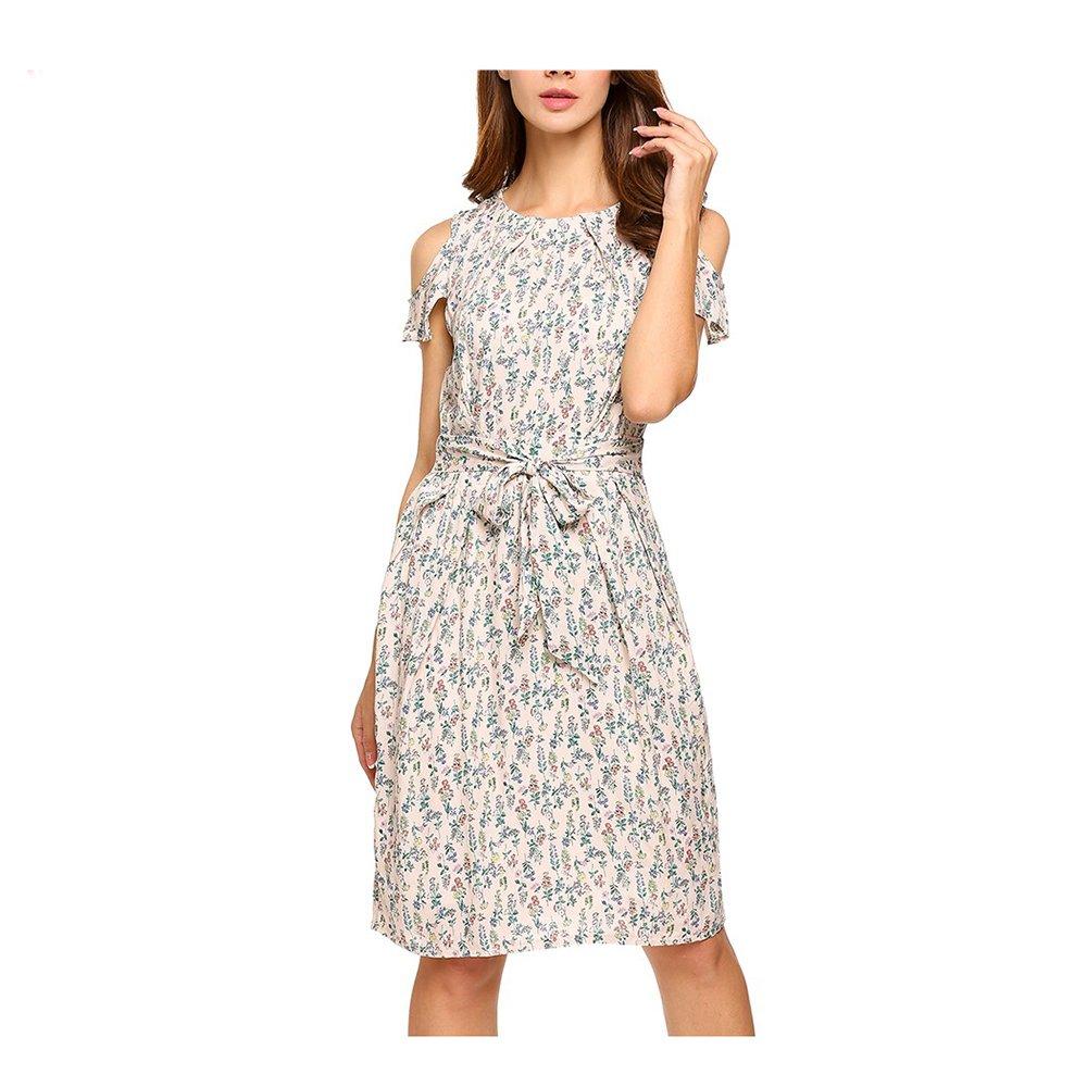 Women Vintage Summer Dress Top Rufflles Cold Shoulder Short Sleeve Floral Print Casual Dress with Belt Beach Dress