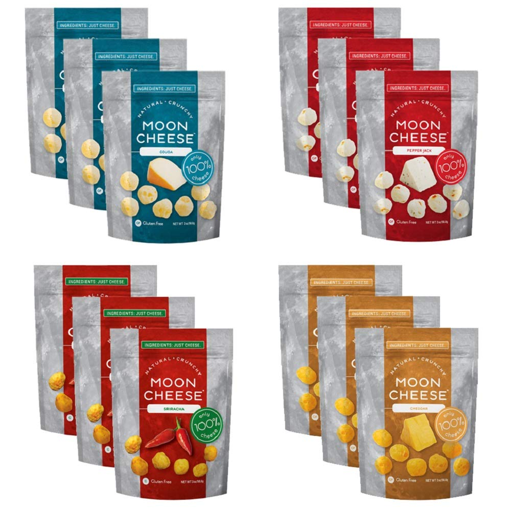 Moon Cheese, Pack of 12, Assortment (Cheddar, Gouda, Pepperjack, Sriracha), 100% Cheese and Gluten Free, 2 OZ Bags