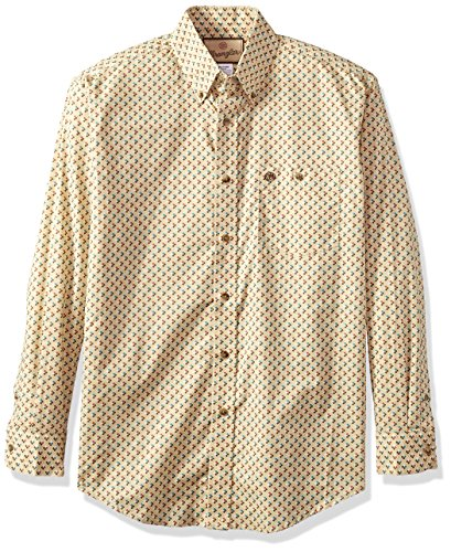 Wrangler Men's Western Classic One Pocket Long Sleeve Button Shirt, khaki/brown, L ()