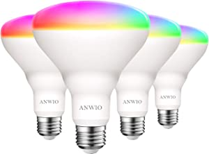 ANWIO Alex Smart Light Bulb BR30 RGB Color Changing LED WiFi Dimmable Multicolor Light Bulbs E26 Base, Work with Google Home Amazon Echo, No Hub Required, 650 Lumen 8.5W (60W Equivalent) 4 Pack