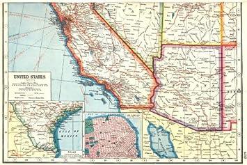 Amazon.com: USA SOUTH WEST. Arizona California. Inset plan of San ...
