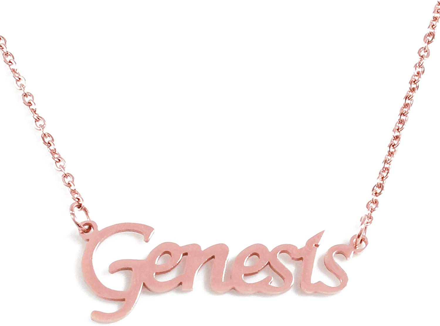 18ct Rose Gold PlatedEngagement Gifts GENESIS Name Necklace Stainless Steel