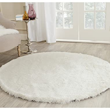 Safavieh Paris Shag Collection SG511-1212 Ivory Polyester Round Area Rug (5' Diameter)