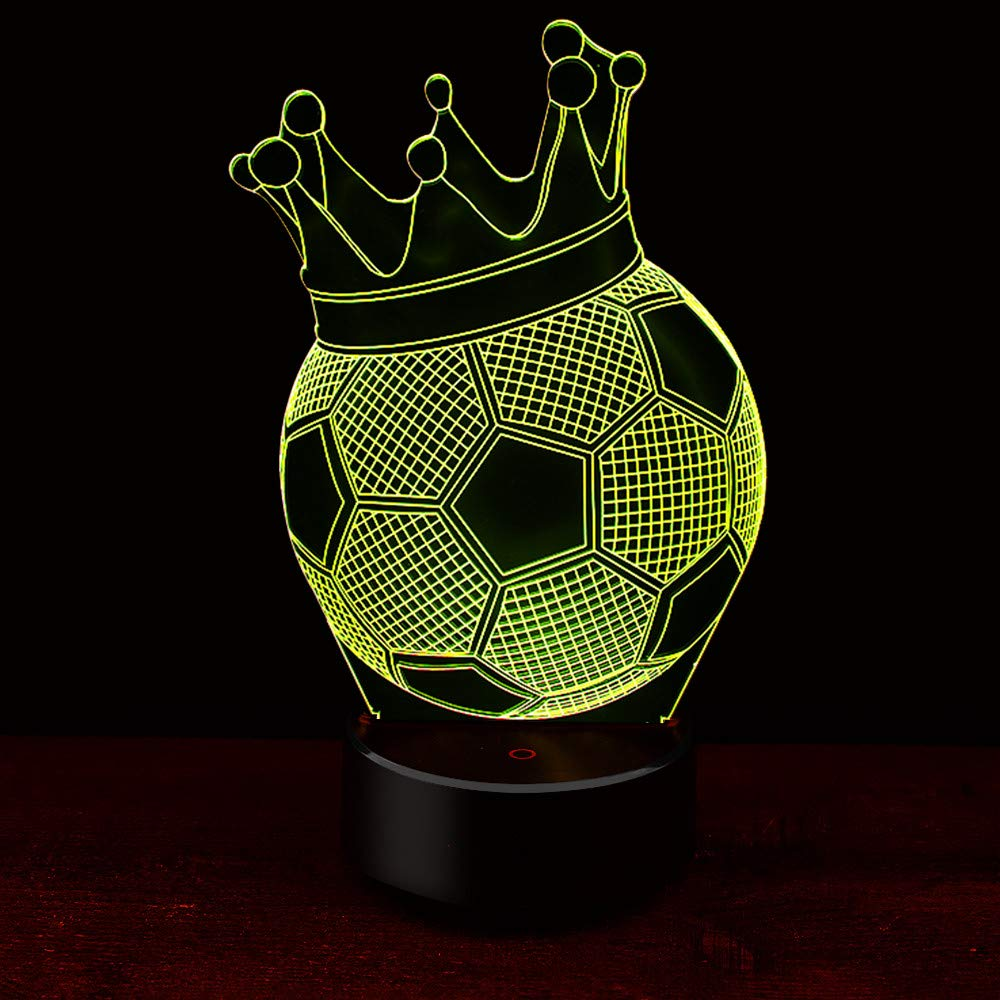 Beautiful Night Light Acrylic Lamp Led Crown Soccer Football Home Deco Touch Light Gift Home & Garden