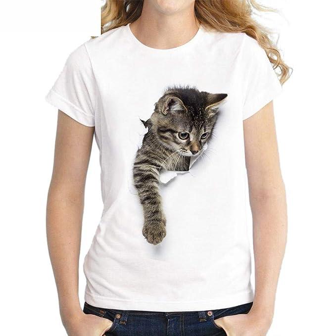 WJPT Mujer Pareja Camiseta Set Gato Impresión Casual Fashion Blanco Cuello Redondo Manga Corta Tops Tees