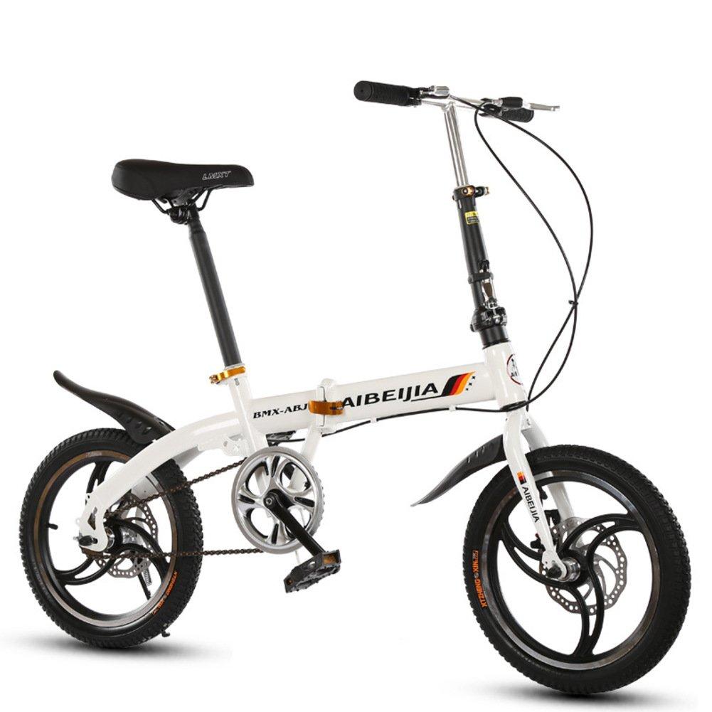 学生折りたたみ自転車, 折りたたみ自転車 レジャー 男女 型ディスク ブレーキ 子 Mtb 旅行 折り畳み自転車 B07D3859GZ白 16inch