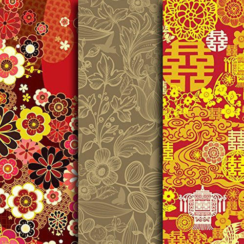 MOOF Deluxe Series Combo, Oriental Theme, Gold-foil Stamped & Kraft-like Gift Wrapping Paper Single Sheets - contains 3 sheets in total (Each sheet measures 27 by 19 - Tubes Kraft Paper