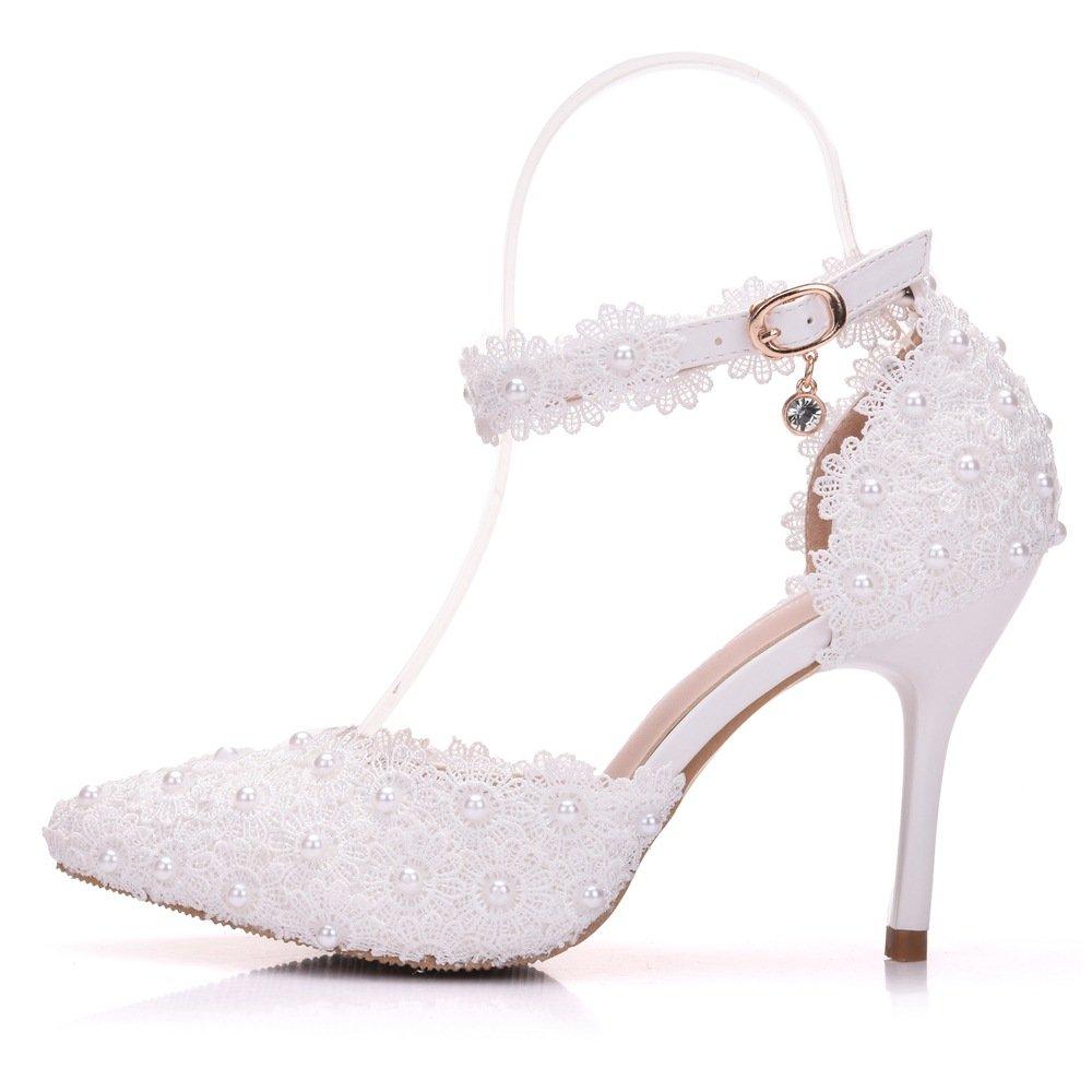 JING Sandali femminili Il pizzo bianco fiori-scanalata cinghia scarpe nuziale con punta fine di sparare wedding scarpe donna sandali, bianco 40