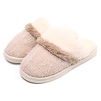 Womens Soft Memory Foam Slippers Fuzzy Plush Knitted Fleece Lining House Shoes Indoor Outdoor | Slippers