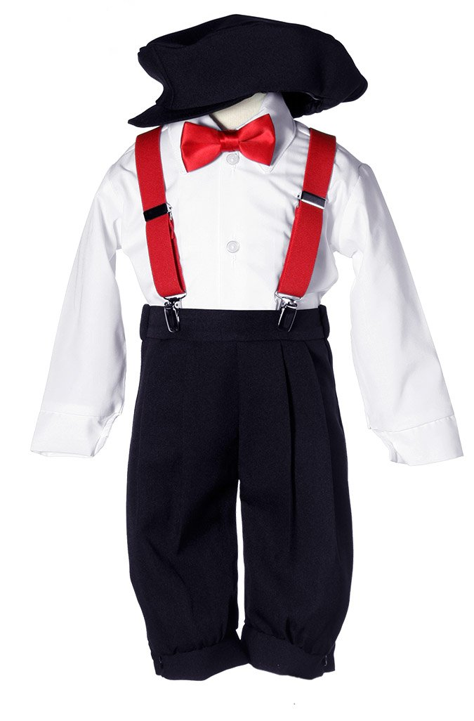Boys Black Vintage Knicker Set with Red Suspenders & Red Bow Tie 8