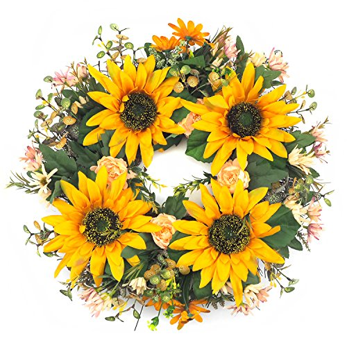 Emlyn Artificial Sunflower Wreath - 19