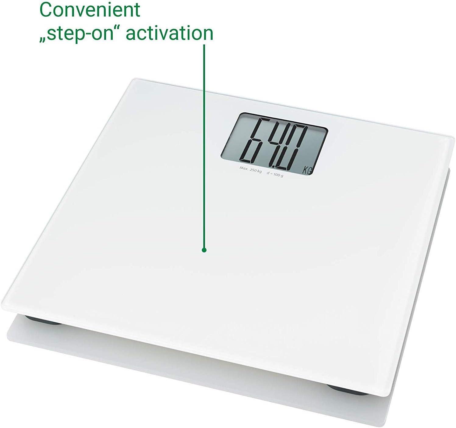 Donter P/èse-personne num/érique XL jusqu/à 250 kg en verre tremp/é avec arr/êt automatique