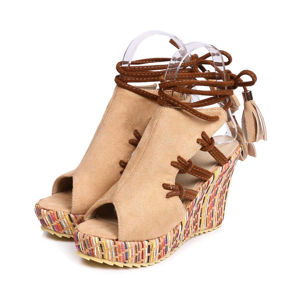 Thenxin Women Bohemian Ethnic Open Toe Color Velvet Wedge Sandals Fashion High Heel Strap Shoes for Work (Beige,5.5 US)