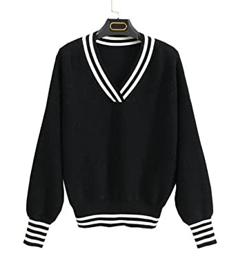 92e86fae60 KAML Women s V Neck Long Sleeves Knit Sweater with Stripes Black at Amazon  Women s Clothing store