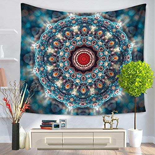 Series Tapestry Blanket (Creative Tapesty Tapestry Mandala Series Beach Blanket (Color : Blue, Size : 150 130cm) for Tapesty Wall Hanging (Color : Blue, Size : 150130cm))