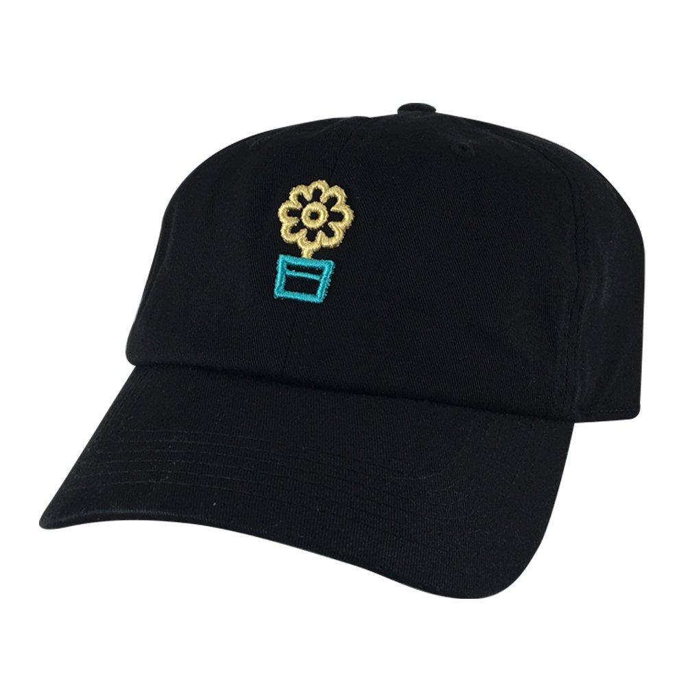 Black Gold Green Caprobot 3D Flower Vase Cotton Unstructured Strapback Hat Dad Cap