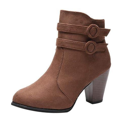 OHQ Damen Stiefel Mit Absatz Plateau Blockabsatz Kurzschaft