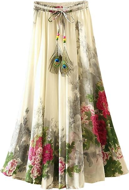 FEOYA Falda Larga de Flores de Impresión Vintage para Playa ...