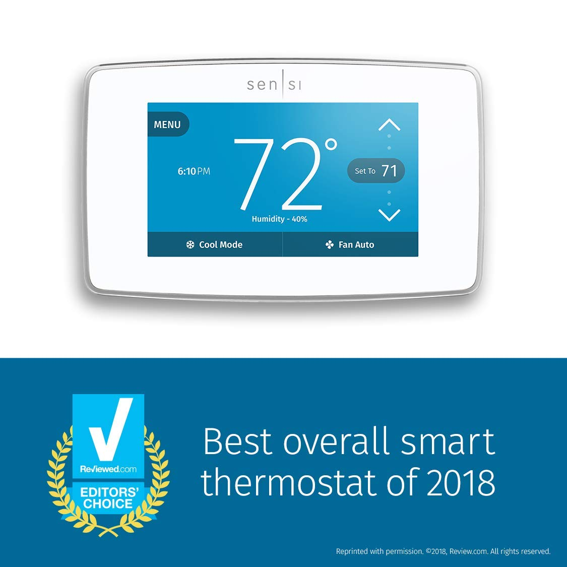 Emerson St75w Sensi Touch Wi Fi Thermostat With Touchscreen Color Multiple Baseboard Heater Wiring Display For Smart Home White Works Alexa