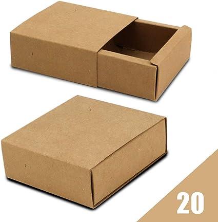 RUBY - 20 Cajas cartón kraft tipo de cerillas para regalos de Boda/Joyas/Cumpleaños/Fiesta. (20pcs/ 8.5x 8.5x 3.5cm ...