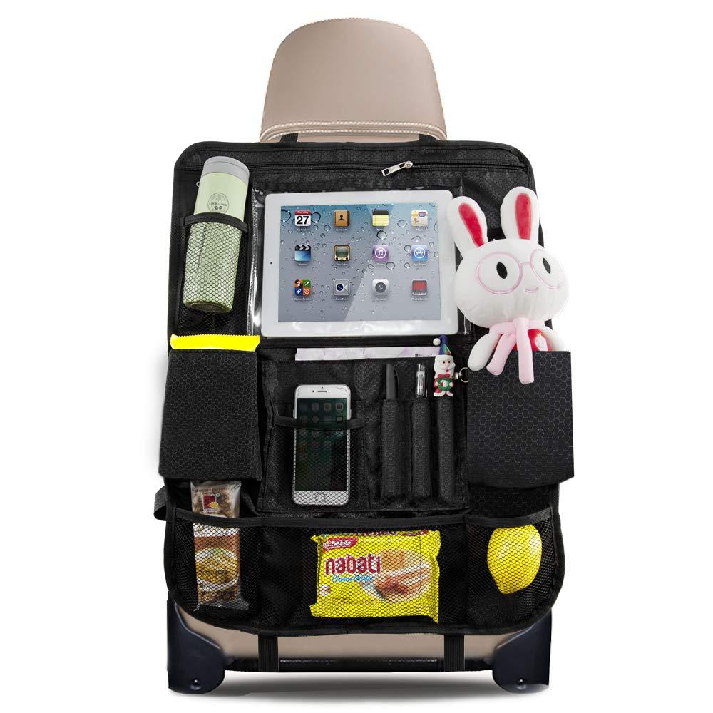 QUEES Auto R/ücksitz Organizer f/ür Kinder Auto R/ückenlehnenschutz Kick-Matten-Schutz f/ür Autositz und Wasserdicht Autositzschoner mit Multitaschen und iPad Halter