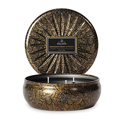 Votive Voluspa Black (Voluspa 3 Wick Decorative Tin Makassar Ebony & Peach)