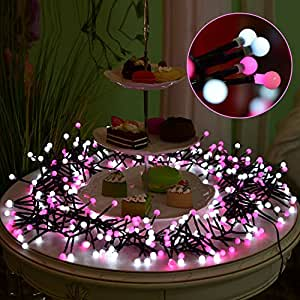 LED Globe String Lights, Elktry 10FT 400LEDS Bendable Copper Wire Lights CE Certification for Indoor Bedroom Curtain Patio Lawn Landscape Garden Home Wedding HolidayChristmasParty (Pink &White)