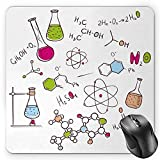 BGLKCS Educational Mouse Pad by, Doodle Style Hand Drawn Chemistry Composition with Atom Molecules Flask, Standard Size Rectangle Non-Slip Rubber Mousepad, Green Blue Pink