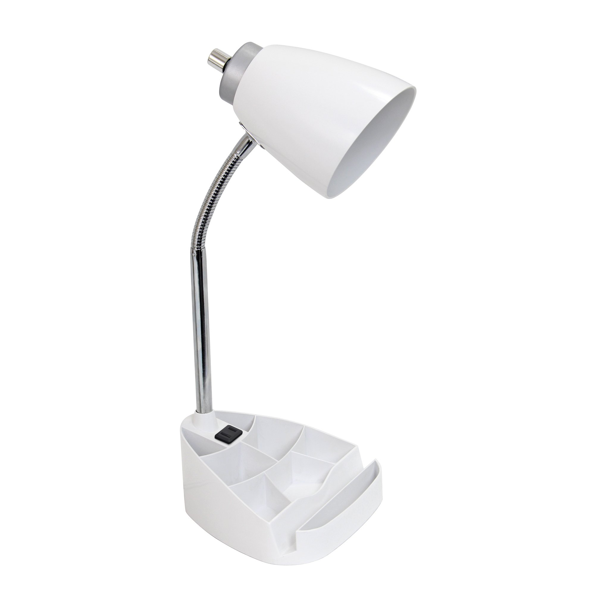 Limelights LD1057-WHT Gooseneck Organizer Desk Lamp with Ipad Tablet Stand Book Holder and Charging Outlet, White