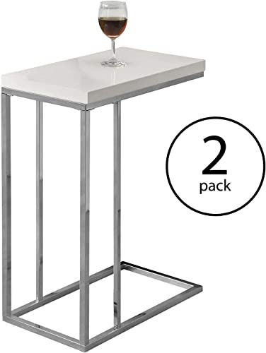Monarch Specialties Contemporary Accent Rectangular Side Table, White 2 Pack