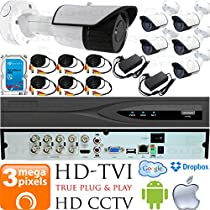 USG Business Grade 3MP (2048x1536) 6 Camera CCTV Kit : 6x 3MP 2.8mm Wide Angle Bullet Cameras + 1x 8 Channel 3MP DVR + 1x 4TB HDD + 6x 100ft CCTV Cable + 2x 4 Channel Power Supply : Apple Android App