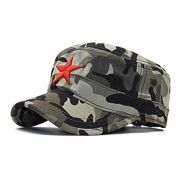 FBXYL Gorras Planas De Estrella Roja para Hombres Gorra Militar ...