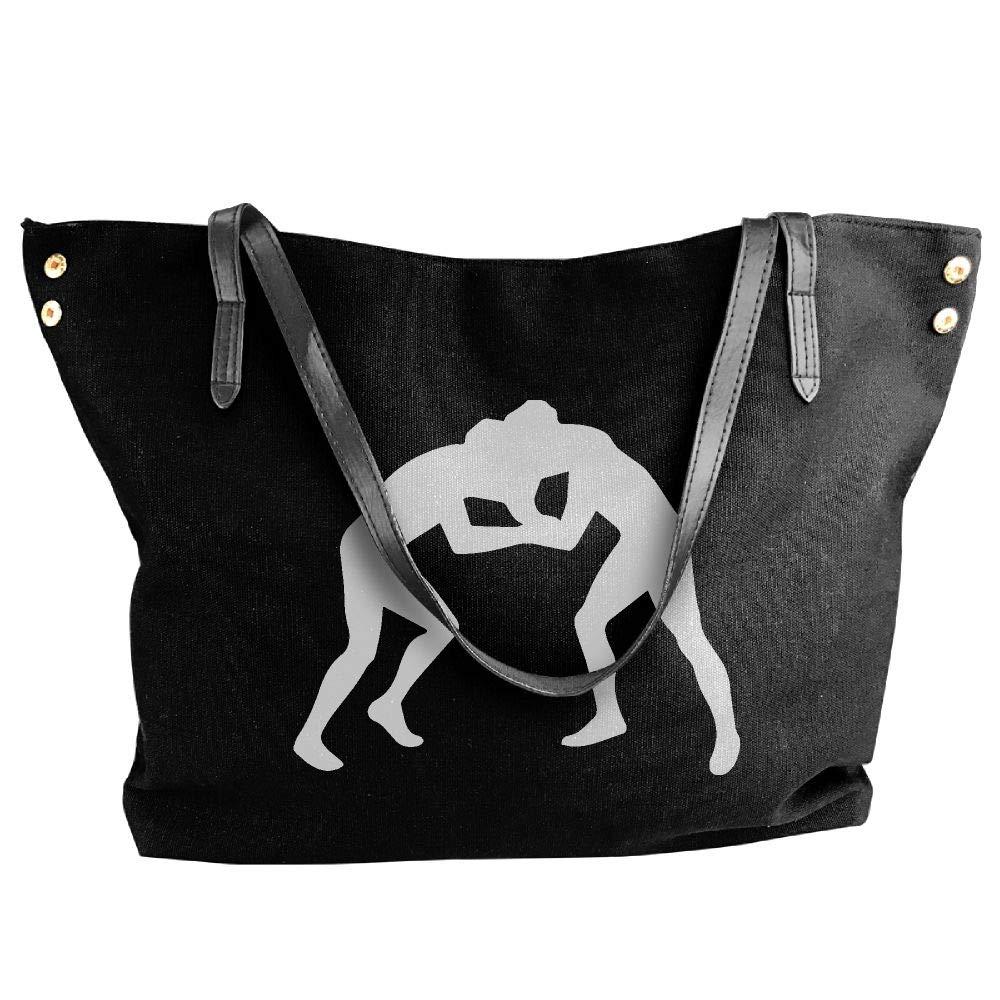 Women's Canvas Large Tote Shoulder Handbag Wrestling Clipart Messenger Bags