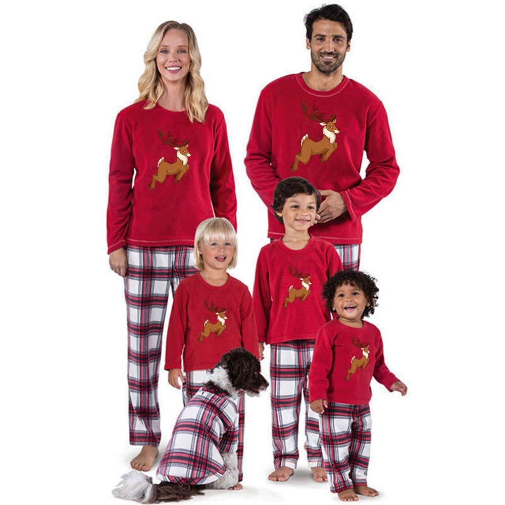 Christmas Family Pajamas Set, Elk Print T Shirt Tops + Plaid Pants Christmas Set Family Clothes