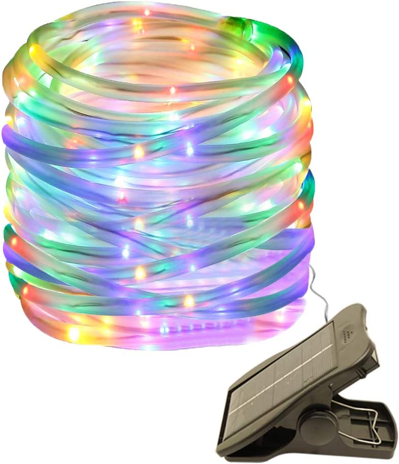 Decem Solar String Lights 39.4ft 100LED Solar Outdoor Rope Lights Waterproof Tube Lights Waterproof Copper Wire Tube Lights for Garden Fence Patio Yard Party Christmas Wedding Home