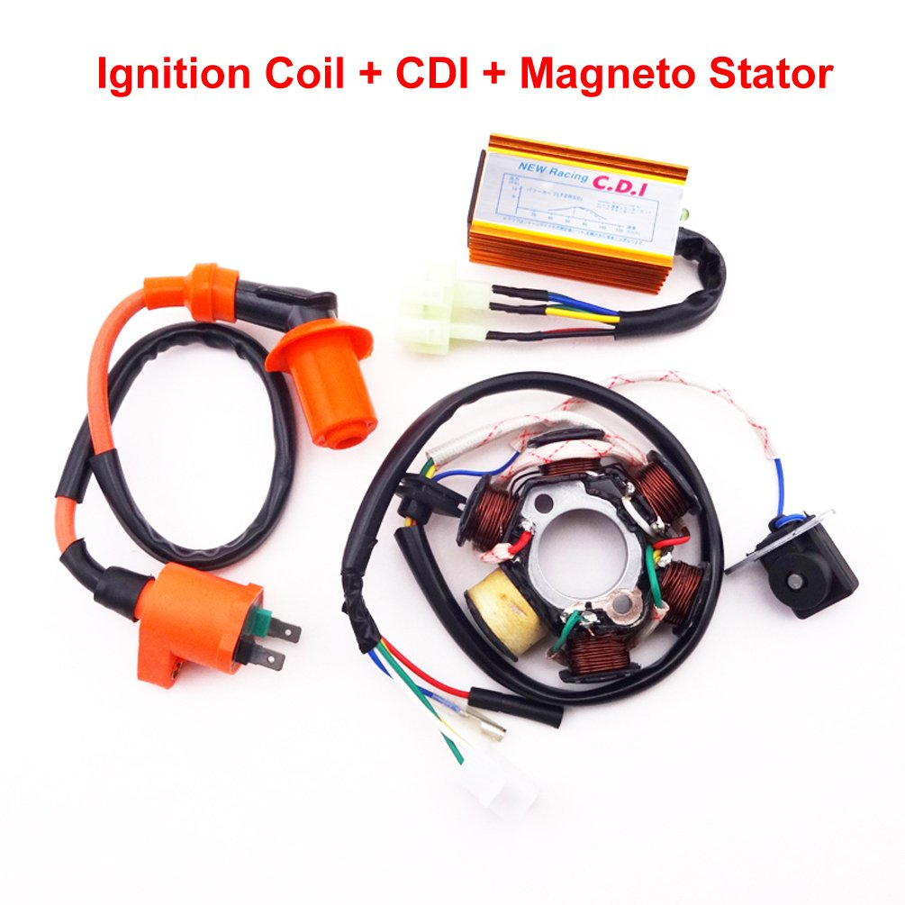 Xljoy Racing Ignition Coil Magneto Stator 6 Pins Wires Wiring Ac Cdi Box For Chinese Atv Go Kart Gy6 50cc Engine Moped Scooter Automotive